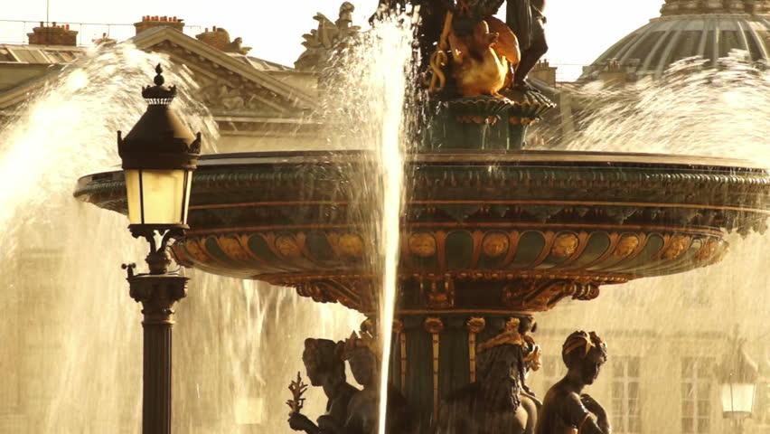 Golden fountain in the Place du Concorde | Shutterstock HD Video #3234409