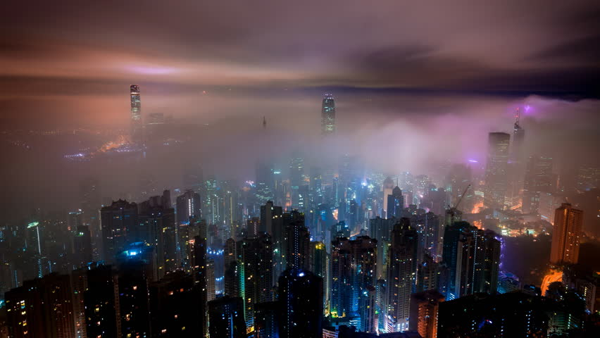 Cinemagraph of misty clouds in Hong Kong at   Shutterstock HD Video #32351221