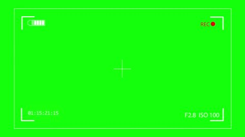 Camera recording on green screen. Rec frame viewfinder animation. HD footage video.