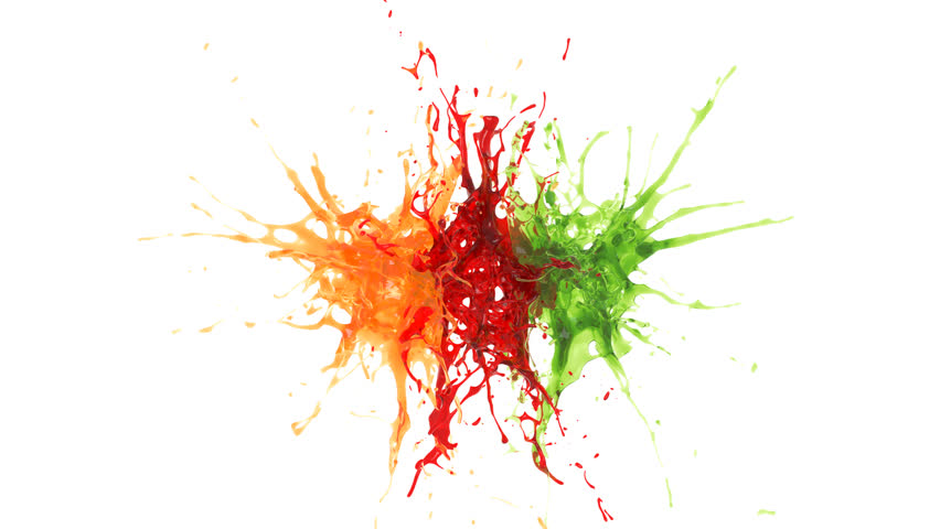 explosion of three drops of orange, red and green liquid. slow motion. alpha