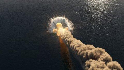 meteorite fall into the ocean top view