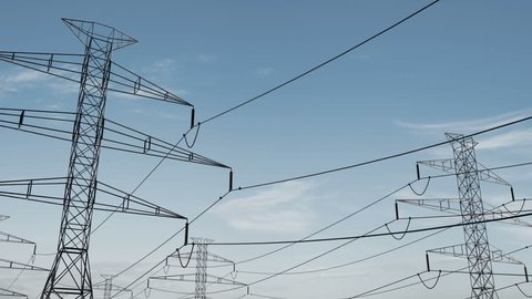 high voltage electricity tower and power lines under the beautiful sky. energy saving conception. Electricity pylons and lines on a clear blue sky. energy conservation. loopable animation