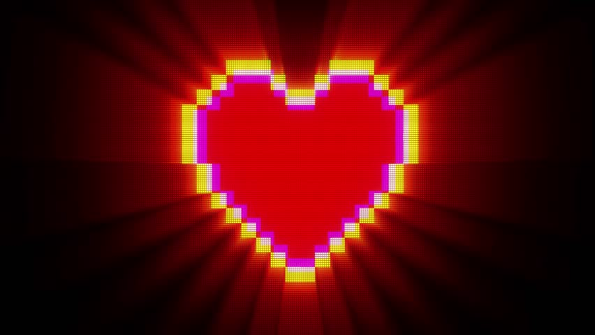 Shiny pixel heart beat on digital old tv screen seamless loop glitch interference animation new dynamic holiday retro joyful colorful vintage video footage