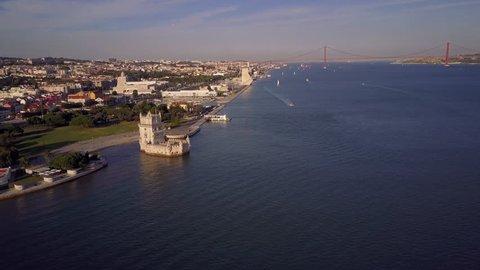 Aerial shot of Belem Tower, Lisbon, Portugal