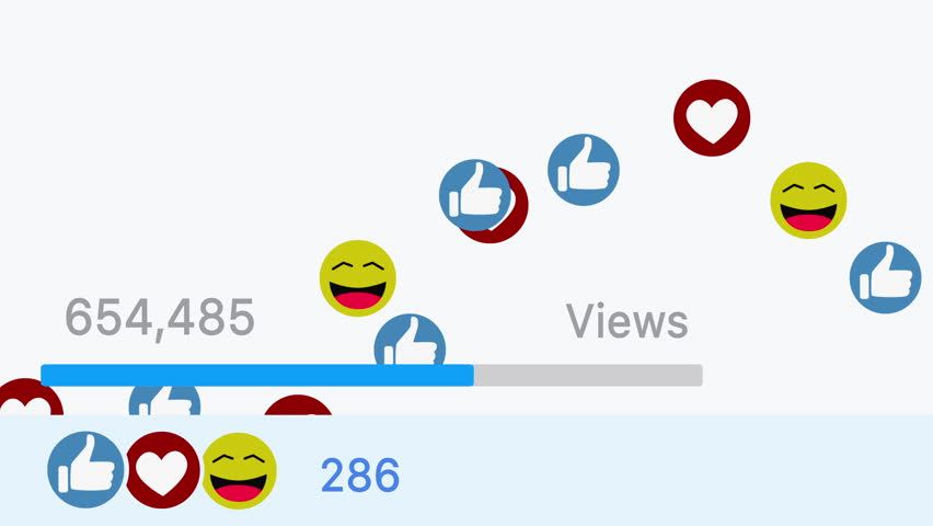 Video going viral on social media website. Progress bar showing views and likes with animated smile hearts and thumbs icons isolated on white background  | Shutterstock HD Video #32413207