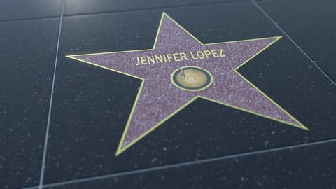 Hollywood Walk of Fame star with JENNIFER LOPEZ inscription. Editorial clip