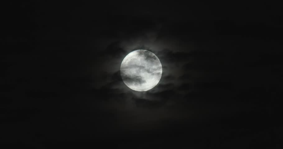 Bright Full Moon - Thin Clouds In Front   Shutterstock HD Video #32436511