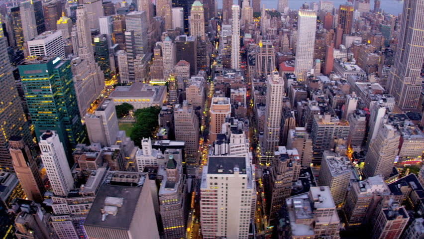 Aerial view city Skyscrapers Midtown Manhattan, New York, North America. Dusk. | Shutterstock HD Video #3243871