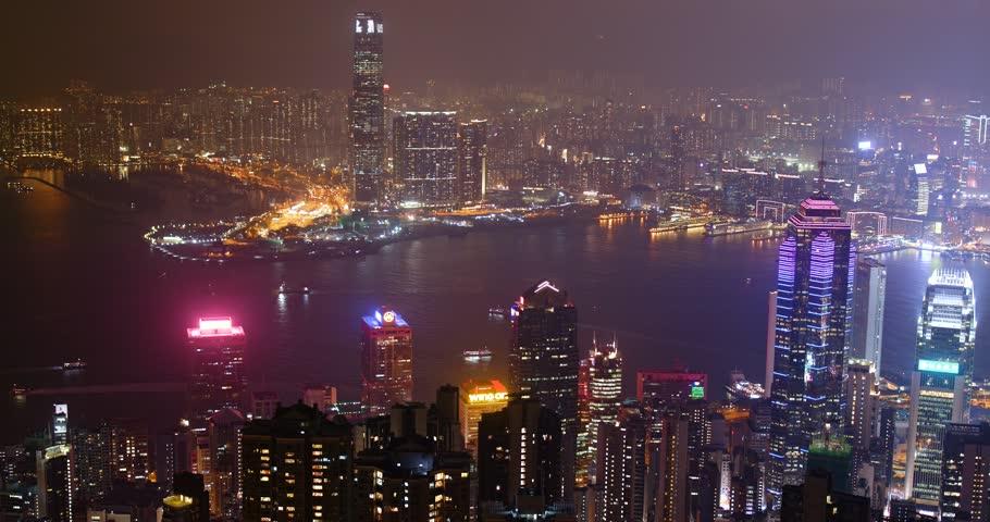 The peak, Hong Kong, 03 November 2017:- Hong Kong the peak at night    Shutterstock HD Video #32450281