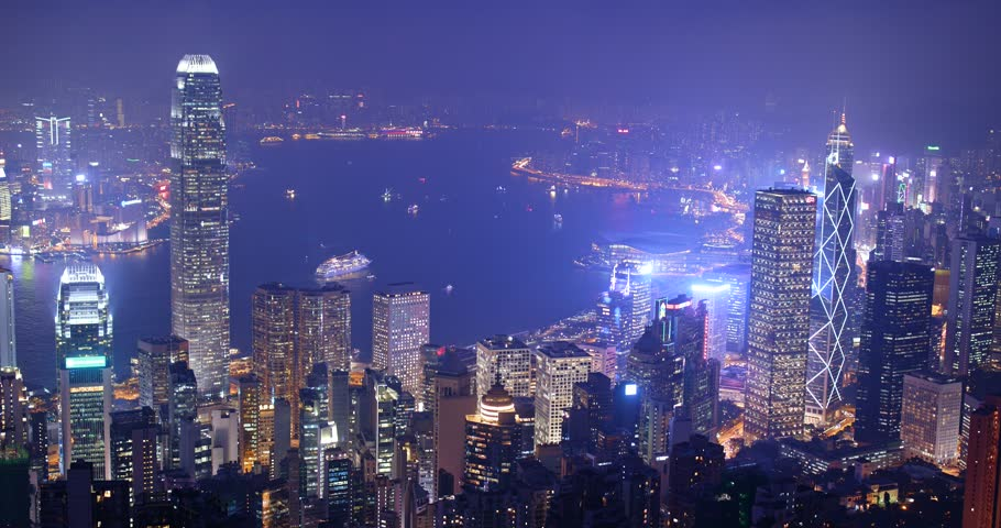 The peak, Hong Kong, 03 November 2017:- Hong Kong skyline at night  | Shutterstock HD Video #32450332