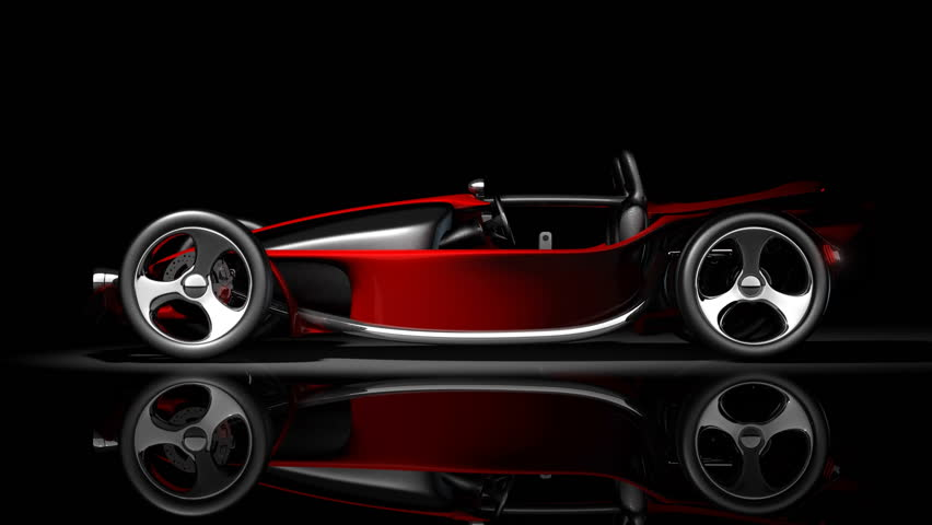 Concept. red sport car 360 degrees in dark studio. (No trademark. it is design and the 3d model completely exclusive it is developed and made personally me)