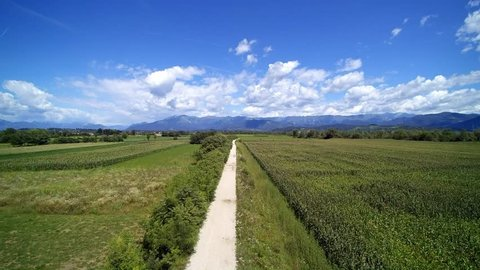Flight over the Italian countryside, Udine, Friuli, Italy