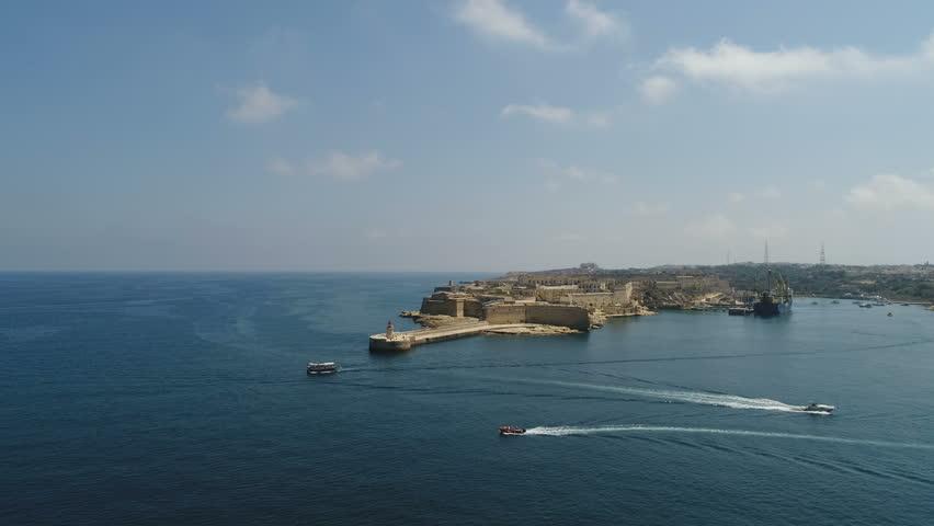 Malta Valletta Drone 3 Boats