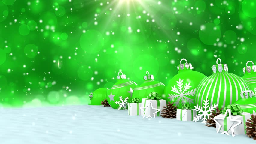 3d Animation Green Christmas Baubles Decorations Bokeh Background Merry