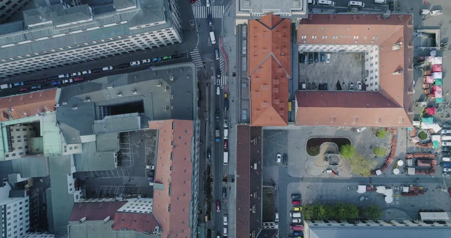 Flying over the Prague streets, Aerial view, 4k #32504521