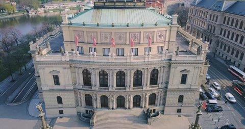 PRAGUE Theatre in the center of Prague. Czech Republic. Rudolfinum. Aerial view, 4k