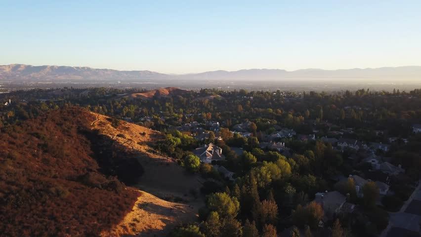 Woodland Hills & Topanga AERIAL subdivision, a neighborhood bordering the Santa Monica Mountains in the San Fernando Valley region near the Santa Monica Mountains, and Topanga Canyon