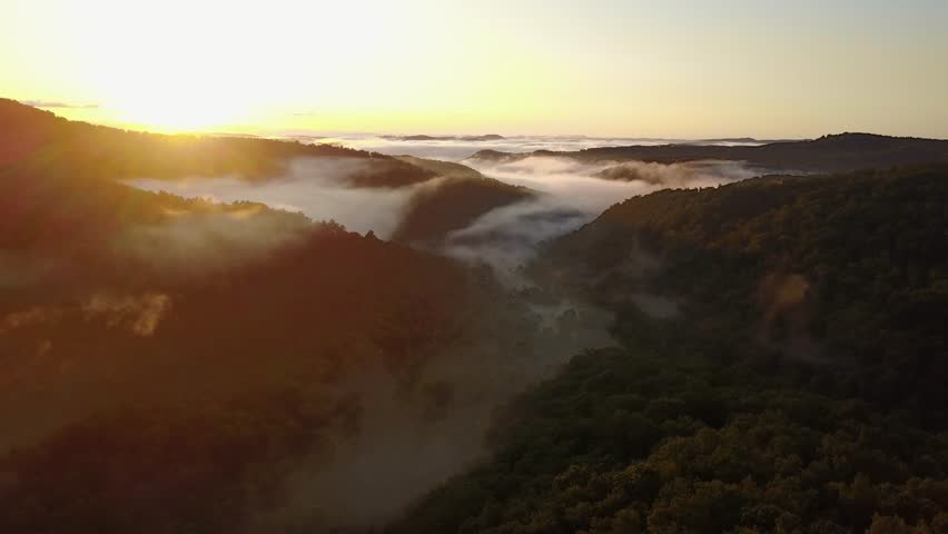 West Virginia - United States - September 28, 2017: The first daylight appears over the horizon at the mountains, West Virginia | Shutterstock HD Video #32534383