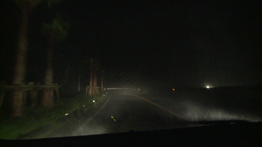 Driving In Severe Hurricane Wind At Night - Shot in full HD 1920x1080 30p on Sony EX1 XDCAM.