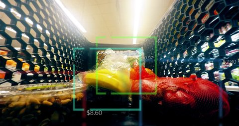 Grocery Food Shopping Time Lapse Smart Scanner Shop Cart Supermarket 4K