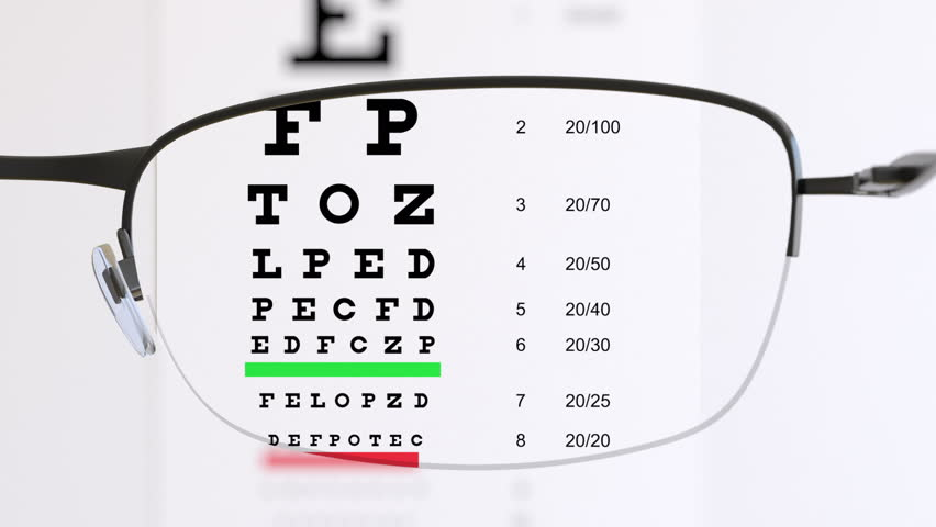 Eye test chart with glasses #32559481