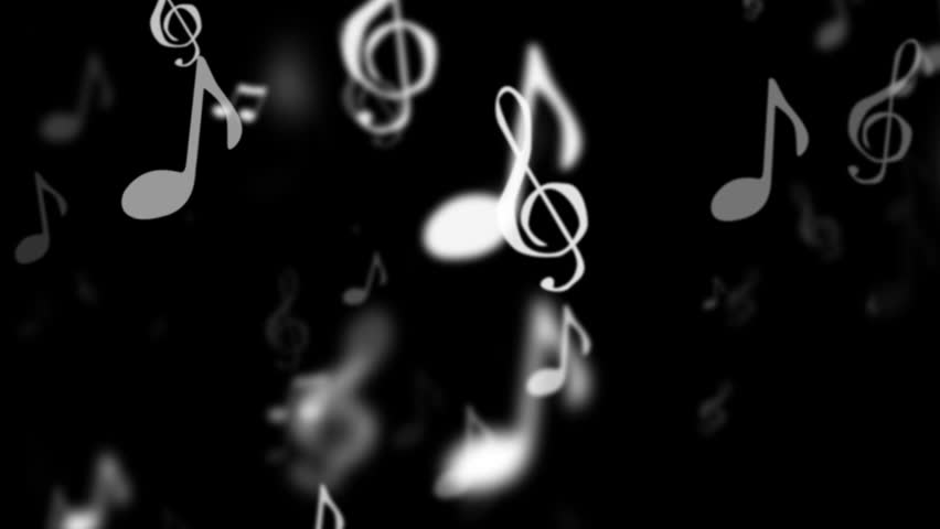 animated music notes move vertically with black background