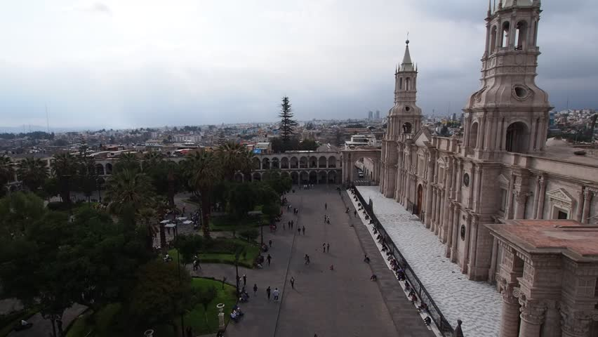 Cathedral, Plaza de Armas, elevated view, Arequipa, Peru
