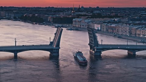 Aerial panoramic view of Neva river and city at white nights in Saint Petersburg, Russia