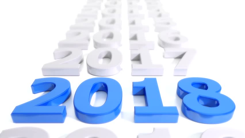 3d video animation - number 2018 in blue over white background - represents the new year.