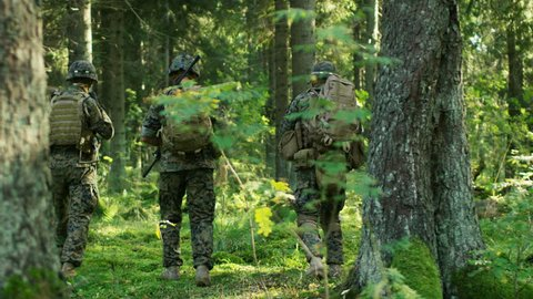 Squad of Five Fully Equipped Soldiers in Camouflage on a Reconnaissance Military Mission, Rifles in Firing Position. They're Moving in Formation Through Dense Forest. Following Back View Slow Motion.