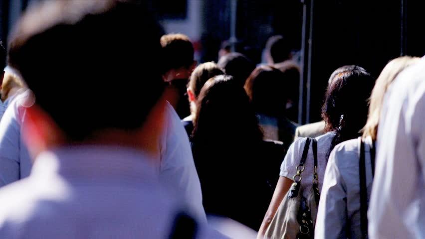 New York - August 21, 2012: Business commuters on busy city sidewalk  | Shutterstock HD Video #3258994