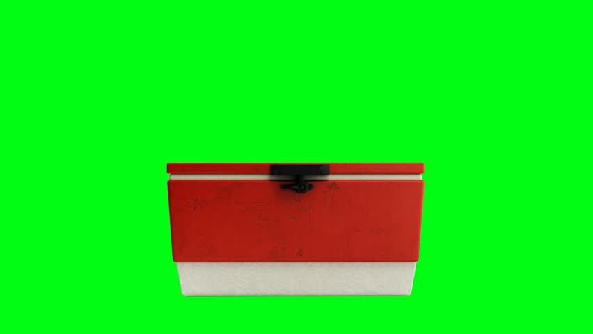 Open beach refrigerator Cooler red 3d render on a green screen