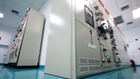 Electrical high voltage substation building in oil refinery plant , smooth movement video scene