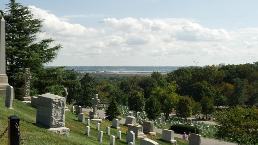 Aerial View of the Pentagon from Arlington cemetery zoom in