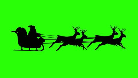 Christmas Santa Claus flying in his sleigh with Christmas gifts pulled by his reindeer. Green Screen Silhouette Animation, Looping (Seamless). You can make a video of any length.