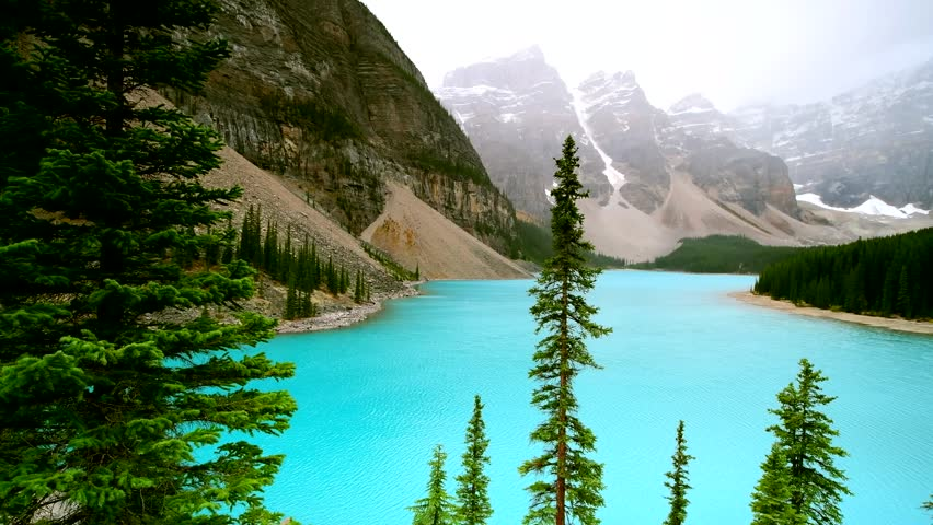 Beautiful turquoise waters of Moraine lake in Banff National Park, Alberta, Canada
