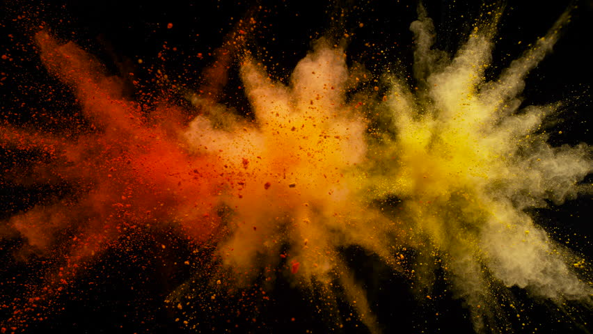 Colorful powder/particles fly after being exploded against black background. Shot with high speed camera, phantom flex 4K. Slow Motion. | Shutterstock HD Video #32682541