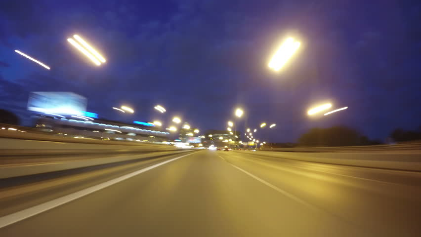 Night road POV through the city at night timelapse blue hour | Shutterstock HD Video #32703121