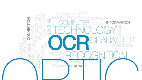 OCR animated word cloud, text design animation. Kinetic typography.