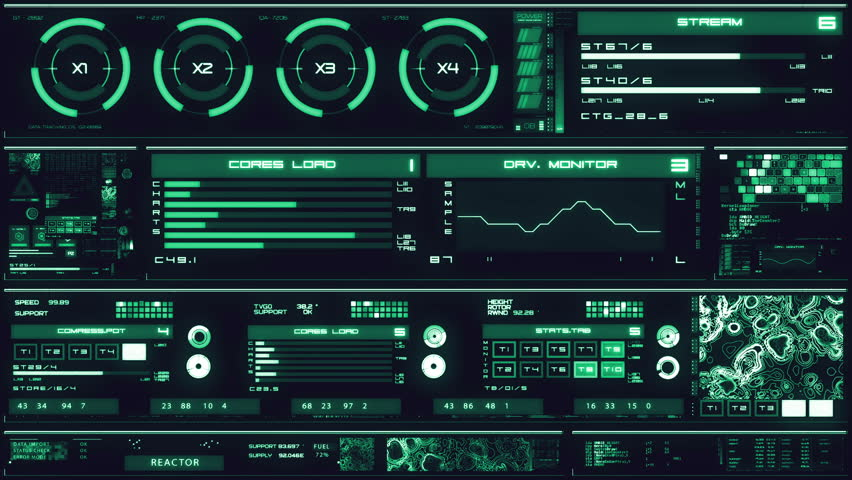 Cold blue futuristic interface/Digital screen/Detailed abstract background. Blinking and switching indicators of command center computer,processing data, AI. | Shutterstock HD Video #32728456