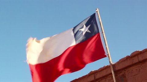 Chile Flag in the Atacama Desert.