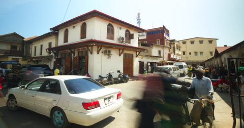 Timelapse of local pharmacy and street corner in Stone town. Zanzibar, Africa.