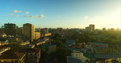 Timelapse of Dar Es Salaam city skyline from a high viewpoint. Tanzania, Africa