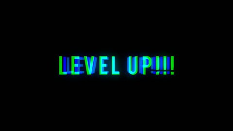 Level UP text with bad signal. Glitch effect. Seamless loop