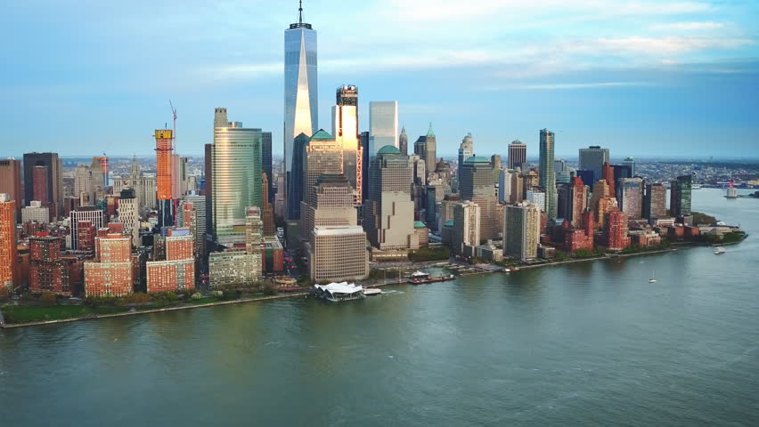 Aerial view above the Hudson River. Famous Manhattan skyscrapers. Traffic passing by West Avenue. Manhattan. United States, North America. Shot from a helicopter.  | Shutterstock HD Video #32798548