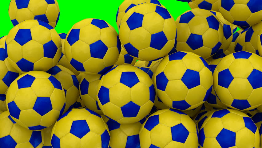Animated a lot of simple soccer balls with blue and yellow material tumbling or rolling and bouncing against blue background filling up container.   Shutterstock HD Video #32799736