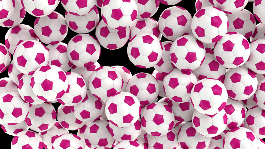 Animated simple soccer balls with plain white and pink material falling and tumbling filling up container against transparent background. Top camera view.  Alpha channel embedded with PNG file.   Shutterstock HD Video #32799769