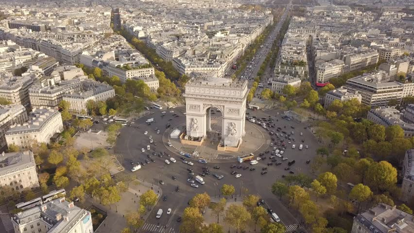 Cityscape of Paris. Aerial view of Triumphal Arch | Shutterstock HD Video #32800957