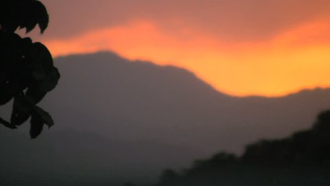 Vivid sunset over high mountains on Oriental Mindoro in Philippines