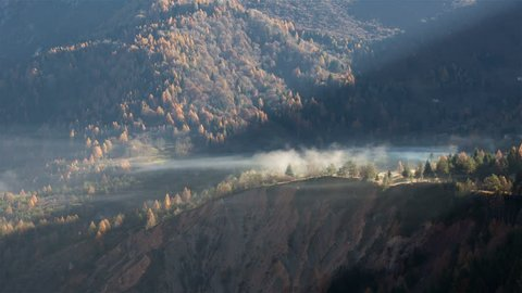 Fog and smoke movement time lapse in the Vajont valley, Friuli, Italy